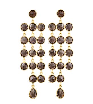 OSPREY LONDON   The Vienna Gold and smoky topaz cascade chandelier Earrings