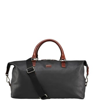 OSPREY LONDON | The Grantham Waxed Canvas & Leather Weekender Dark Grey & Tan