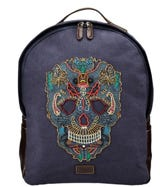 THE MACBETH CANVAS AND LEATHER EMBROIDERED BACKPACK