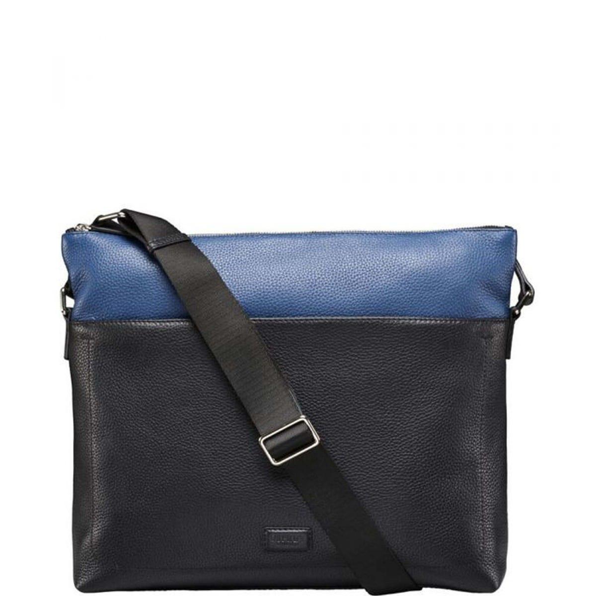 THE BLACK & BLUE LEATHER MESSENGER BAG